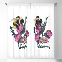 Beautiful botanical fashion illustration with vector bumblebee and thistle Blackout Curtain