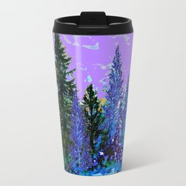 BLUE-LILAC WINTER SNOWFLAKE CRYSTALS FOREST ART DESIGN Travel Mug