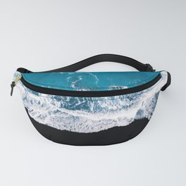 Black sand beach with waves and blue Ocean in Iceland – Minimal Photography Fanny Pack