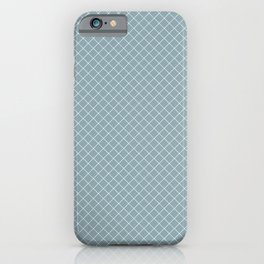 White & Pale Blue Angled Grid Line Pattern Pairs To 2020 Color of the Year Good Jeans iPhone Case