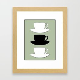 Retro Coffee Print - Black & White Cups on Silver Bubbles Background Framed Art Print