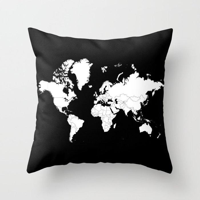 Minimalist world map white on black background throw pillow by minimalist world map white on black background throw pillow gumiabroncs Gallery