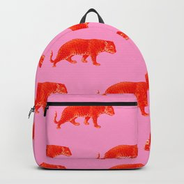 Vintage Cheetahs in Coral + Red Backpack