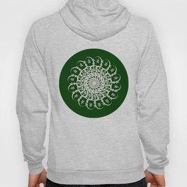 Mandala #104, Deep Green and White Hoody
