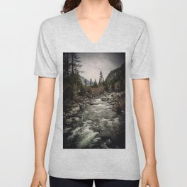 Winter Begins - River Mountain Nature Photography Unisex V-Neck