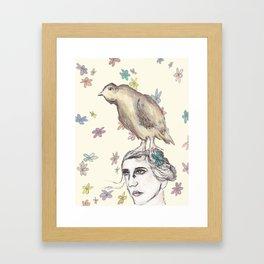 Spring Bird and Wildflowers Framed Art Print