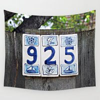 numbers Wall Tapestries featuring Nautical Numbers by Ethna Gillespie