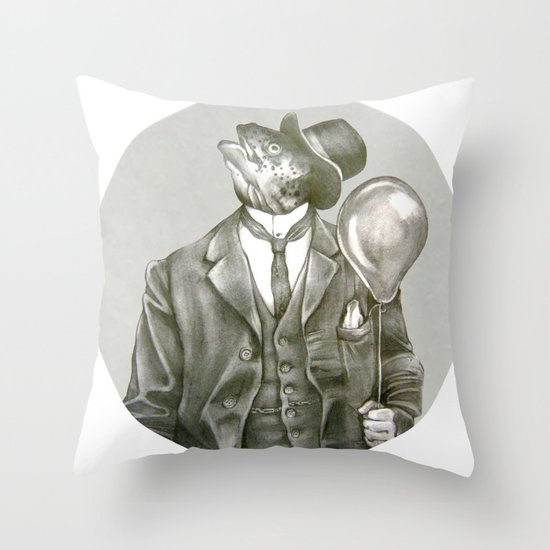 In which a dapper fish is encircled Throw Pillow