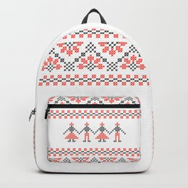 Traditional Romanian red & black cross-stitch people motif on white Backpack