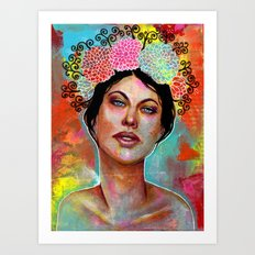 Flower Rainbow Girl in Mixed Media Art Print