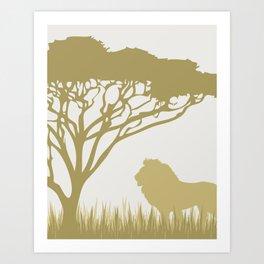 Lion on the Plains Art Print