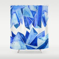 minerals Shower Curtains featuring Sapphire Watercolor Facets by Cat Coquillette