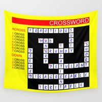 newspaper Wall Tapestries featuring Crossword by mailboxdisco