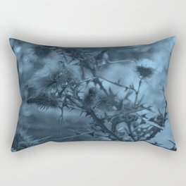 photography of wild plants of the field with manipulation in blue color perfect for illustrations Rectangular Pillow
