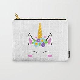 Unicorn face, unicorn head, flower unicorn eyelashes, girl birthday Carry-All Pouch