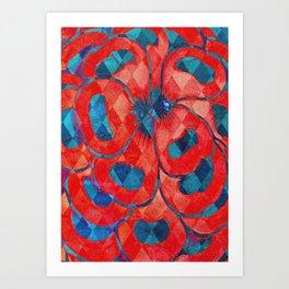 Red and Blue Diamond Pattern Art Print