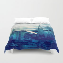 Blue Whale in NYC Duvet Cover