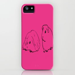 Guinea Pigs - American and Silkie With Hot Pink Background iPhone Case