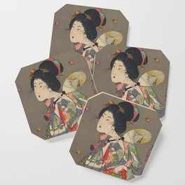 Japanese Art Print - Woman and Fireflies Coaster