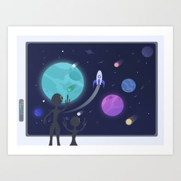 Departure (Aliens waving goodbye to a Spaceship) Art Print