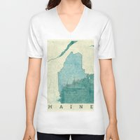 maine V-neck T-shirts featuring Maine State Map Blue Vintage by City Art Posters