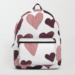 Valentine's Day Watercolor Hearts - dark pink Backpack