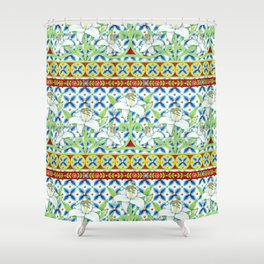 Extravagant Elizabethan Folkloric Lily Shower Curtain