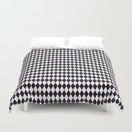 Argyle White & Black, Red Stitch Duvet Cover