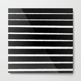Rough White Thin Stripes on Black Metal Print