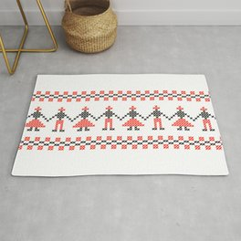 Traditional Hora people cross-stitch row white Rug