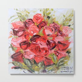 Rose Bouquet palette knife painting in oil by Lisa Elley Metal Print