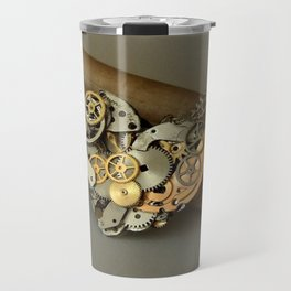 Steampunk Heart of Gold and Silver Travel Mug