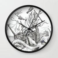 kraken Wall Clocks featuring Kraken by Incirrina
