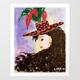 Madame Chapeau: Acrylic Painting of a woman with a charming hat Art Print
