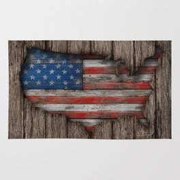American Wood Flag Rug