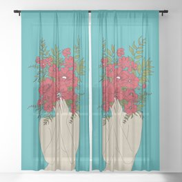 Blooming Red Sheer Curtain