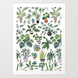 plants and pots pattern Art Print