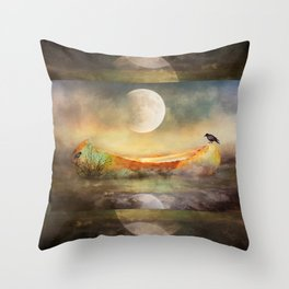 By the Light of the Crow Moon Throw Pillow