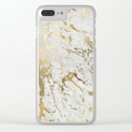 white and gold marble Clear iPhone Case