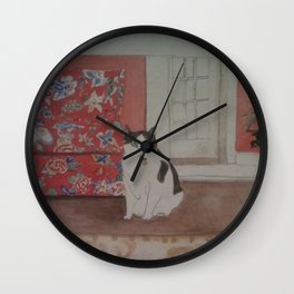 Cat with Floral Chair Wall Clock