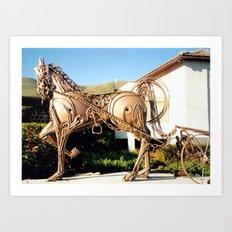 Horse & Plough by Shimon Drory Art Print