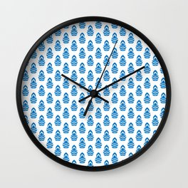 Indian Flowers Blockprint 1 (Mid Blue) Wall Clock
