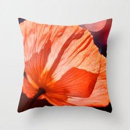 Catch the Light & Throw it Back - orange poppy macro with bokeh Throw Pillow