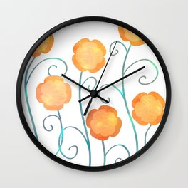 Silly Poppies Wall Clock