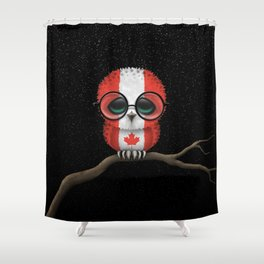 Baby Owl with Glasses and Canadian Flag Shower Curtain