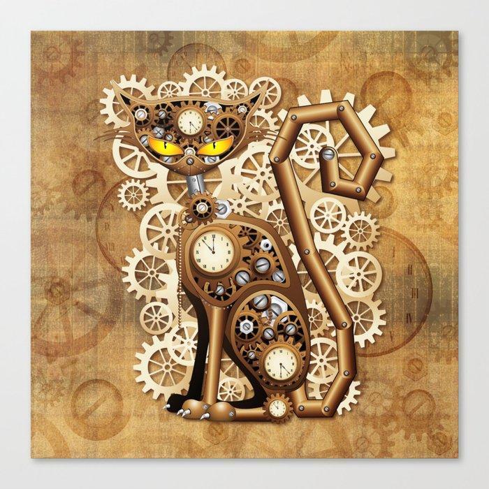 Steampunk Cat Vintage Style Canvas Print