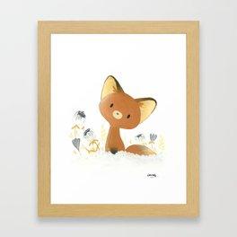 Little fox and flowers Framed Art Print