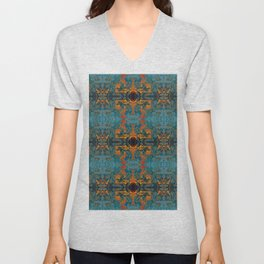 The Spindles- Blue and Orange Filigree  Unisex V-Neck