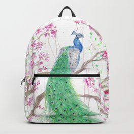 "Watercolor Painting of Picture ""Peacock"" Backpack"