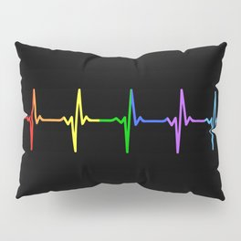 Rainbow Heartbeat Pulse LGBT Pillow Sham